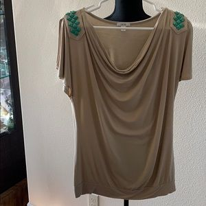 Cache Tops - Cache tan cold shoulder top with torquoise beads